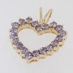 NEW Modern Ladies 14K Yellow Gold Lilac Iolite Pendant Jewelry