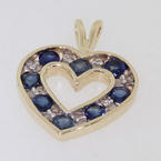 Classic Genuine 14K Yellow Gold Diamond and Topaz Heart Pendant Jewelry
