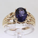 Divine Ladies 10K Yellow Gold Iolite Ring Jewelry