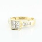 Brilliant 14K Yellow Gold Princess Diamond Engagement Wedding Ring