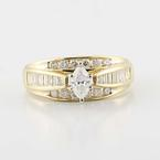 Sparkling 14K Yellow Gold Marquise Bagguette Round Diamond Ring