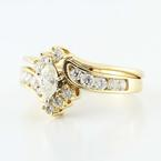 Marvelous 14k Yellow Gold Marquise Round Diamond Wedding Ring Set