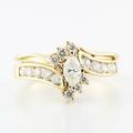 Marvelous 14k Yellow Gold Marquise Round Diamond Wedding Ring Set