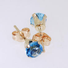 Charming Ladies 10K Yellow Gold Blue Quartz Stud Earrings Jewelry