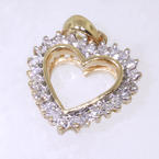 NEW Modern Ladies 10K Yellow Gold Diamond Heart Pendant