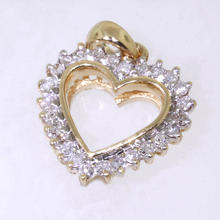 NEW Modern Ladies 10K Yellow Gold Diamond Heart Pendant