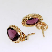 Charming Ladies 14K Yellow Gold Purple Zirconia Stud Earrings Jewelry