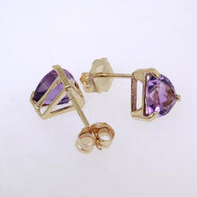 Charming Ladies 14K Yellow Gold Amethyst Stud Earrings Jewelry