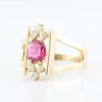 Fascinating Fine 14K Yellow Gold Estate Ruby Diamond Ring