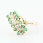 Gorgeous 14K Yellow Gold Round Emerald Diamond Cluster Ring