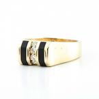 Handsome 14K Yellow Gold Black Enamel Diamond Mens Ring