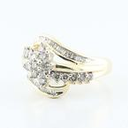 Sparkling 10K Yellow Gold Round Baguette Diamond Cluster Ring