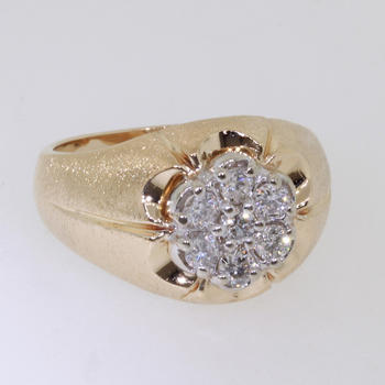 Handsome Men's 14K Yellow Gold Diamond Cluster Ring Jewelry