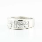 Exquisite Solid Platinum Princess Baguette Diamond Womens Anniversary Ring