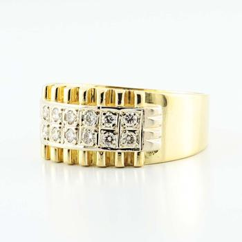 Striking 18K Yellow White  Gold Round Diamond Mens Ring Band