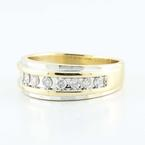 Fine 14K Yellow White Gold Round Channel Set Diamond Mens Wedding Band Ring