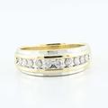 Fine 14K Yellow White Gold Round Channel Set Diamond Mens Wedding Band Ring