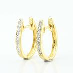 Fine 18K Yellow Gold Round Diamond Huggie Hoop Earrings