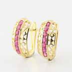 Marvelous 14K Yellow Gold Huggie Hoop Ruby Earrings