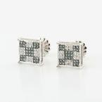 Dazzliing Blue White Diamond 14K White Gold Stud Earrings