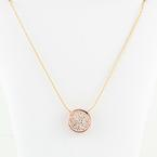 Dazzling 14K Rose Gold Diamond Studded Pendant 14K Yellow Gold Necklace