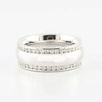 Fine Solid 14K White Gold Round Diamond Band Ring