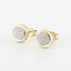 Radiant 14K Yellow Gold Round Diamond Studded Earrings