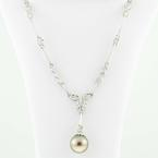Stunning 14K White Gold Round Diamond Lustrous Tahitian Pearl Necklace