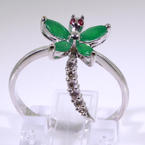 Delightful Ladies 14K White Gold Dragonfly Ring Jewelry