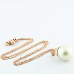 "Beautiful 14K Rose Gold Round Lustrous Pearl Pendant 19"" Necklace"