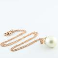 """Beautiful 14K Rose Gold Round Lustrous Pearl Pendant 19"""" Necklace"""