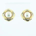 Beautiful 14k Yellow Gold Lustrous Pearl Round Diamond Earrings