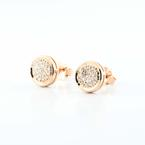Radiant 14K Rose Gold Round Diamond Studded Earrings