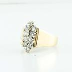 Radiant Estate 14K Yellow Gold Round Diamond Cluster Ring