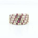Gorgeous 14K Yellow Gold Estate Ruby Diamond Ring