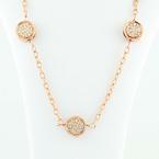 "Dazzling 14K Rose Gold Double Sided Diamond Studded Rounds 16"" Necklace"