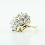 Dazzling 14K Yellow Gold Round Diamond Cluster Bypass Ring