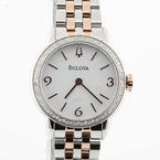 Authentic Ladies Bulova 2 Tone Stainless Steel 72 Diamond Watch 98R182