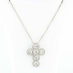 Beautiful Retro 14K White Gold Diamond Cross Pendant 18K Gold Necklace