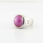 Natural 14K White Gold Pink Star Sapphire And Emerald Diamond Mens Ring