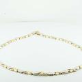 Lovely 10K Yellow White Gold Diamond Cut Comonashin X O Necklace 17 Inch Chain