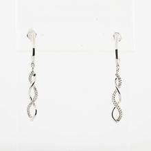 Superb 10K White Gold Diamond Swirl Pin Earrings