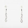 Superb 10K White Gold Diamond Swirl Pin Earrings