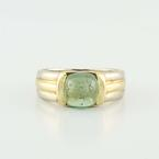 Authentic Bvlgari 18K Yellow White Gold Green Peridot Estate Ring