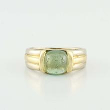 Authentic Bvlgari 18K Yellow White Gold Green Peridot Estate Ring