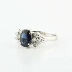 Gorgeous 14K White Gold Blue Sapphire Diamond Cocktail Ring