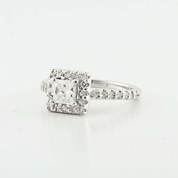 Brilliant 14K White Gold Princess Round Diamond Engagement Wedding Ring
