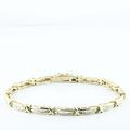 X & O 10K Yellow Gold Baguette Diamond Tennis Bracelet