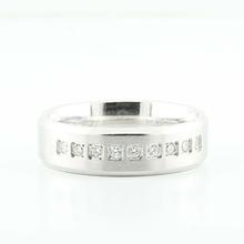 Custom 14K White Gold Mens Diamond Wedding Band Ring