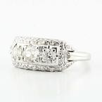 Gorgeous 14K White Gold Old Minor Cut Diamond Antique Ring